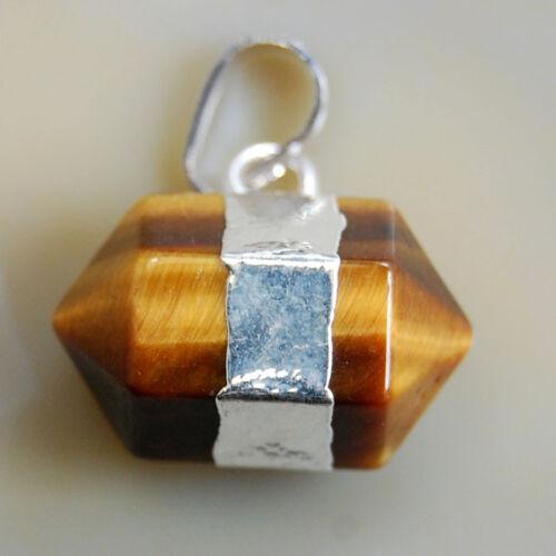 Hexagon Crystal Quartz Healing Point Reiki Chakra Gemstone Pendant 5pcs