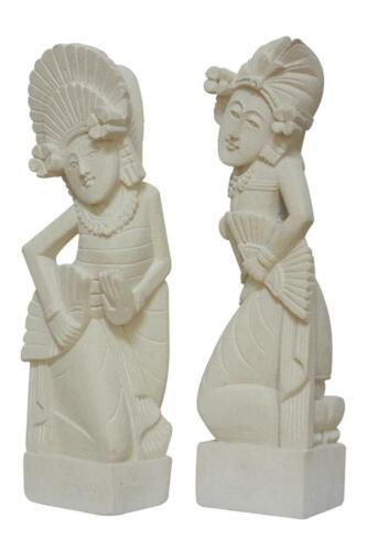 Set of 2 Hand Carved Limestone Dancer Sculpture Statue Home Decor Artwork Stone