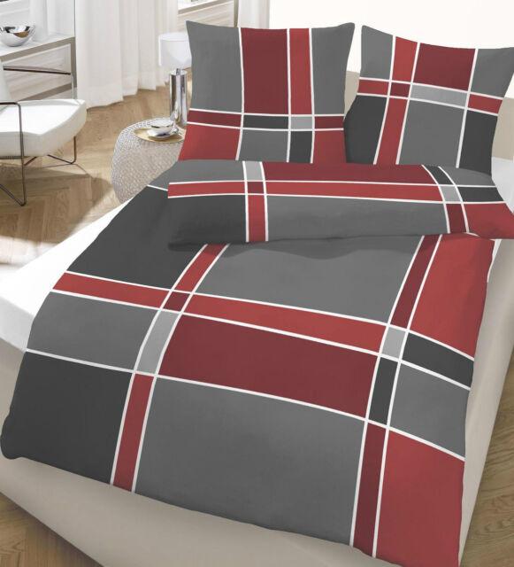 Bettwäsche 135x200 cm Streifen rot anthrazit 47689 BIBER