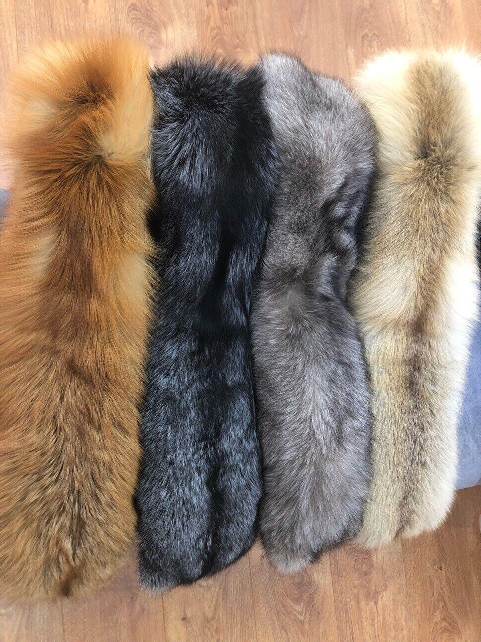 """100% real (Vulpes vulpes) Piel de  zorro cuello de piel entera Bufanda Chal deformar 31""""  10""""  tienda en linea"""