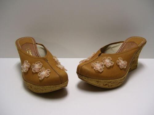 Cindy Says Womens Shoes Sz 7 US Mabel Heels Tan Calf Wedges Dress Pumps Italy