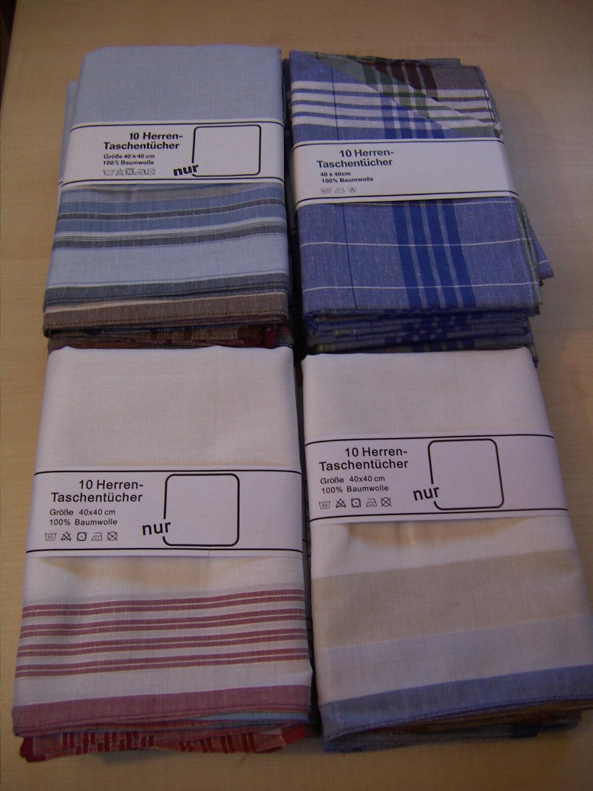 10 Herrentaschentücher / 100% Baumwolle