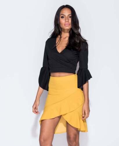 Wrapover Front Ruffle Hem Skirt