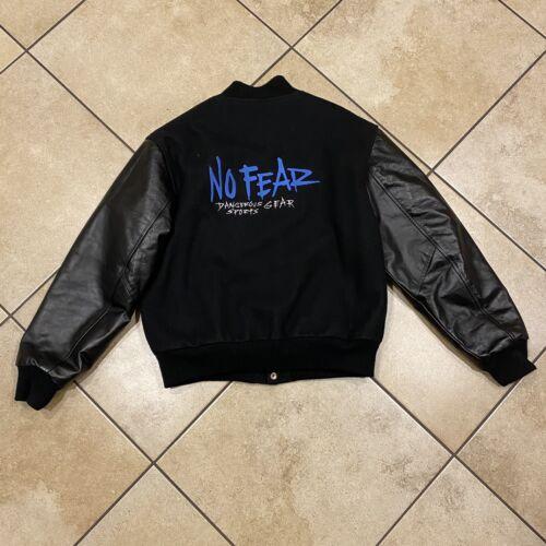 Vintage No Fear Varsity Letterman Leather Jacket