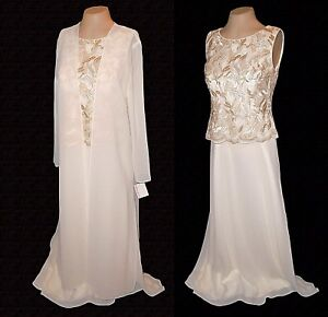 New-2-PC-Suit-Dress-Duster-Michaelangelo-Wedding-Gold-Embroidery-MSRP-198-8