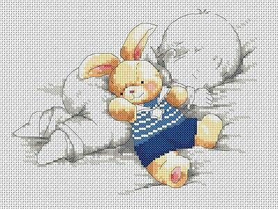 Cross Stitch Chart PDF ONLY New Baby Sampler Bear /& Blanket blue FlowerPower37