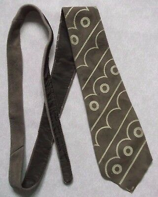 Capace Vintage Tie Cravatta Da Uomo In Pelle Scamosciata 1960s 1970s Marrone Psichedelico-