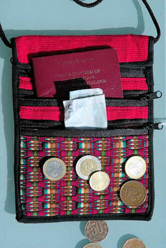 Fair Trade Cotton Panal Passport Bag//Wallet from Guatemala.