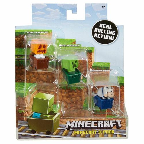 Minecraft Mini-Figure in Minecart 3-Pack: Snow Golem, Creeper & Wolf