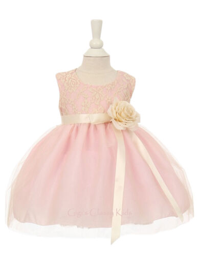 Baby Flower Girls Ivory Pink Dress Pageant Wedding Birthday Easter Party 1142