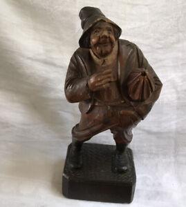 Vintage-Hand-Carved-Wooden-Folk-Art-Statue-of-Old-Man-With-Umbrella