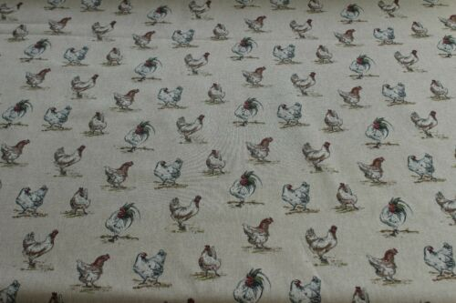 Mini Prints Hens And Chickens Country Side Animals Linen Look Fabric