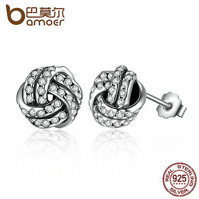 Bamoer S925 Sterling Silver Stud Earrings Roll the ball With Clear CZ For Women