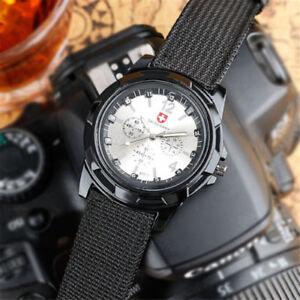 SWISS-Round-Dial-Nylon-Strap-Band-Men-Boy-Military-Arm-Quartz-Wrist-Watch-Gift