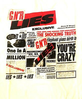 GUN N' ROSES cd cvr GN'R LIES Official White SHIRT MED New you're crazy patience