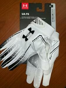 Under Armour Adult F6 Football Receiver Gloves Size L Black//White NWT
