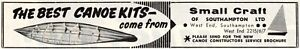 Vintage Small Craft of Southampton Canoe Kit Advert - Original 1964