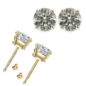 0-50-1-2-3-4-Carat-Round-White-CZ-925-Silver-Yellow-Gold-Plated-Stud-Earring