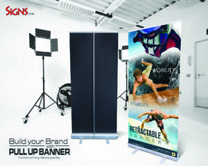 "Aluminum 33""x80"" Retractable Roll Up Banner Stand Pop Up Trade Show Display"