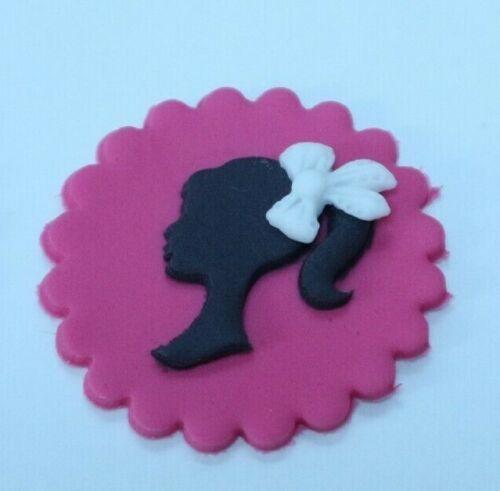 sugarpaste Barbie Inspired Silhouette cupcake topper  6 handmade fondant