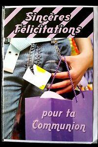"""Carte /""""Sincères Félicitation pour ta communion/"""" Garçon enveloppe F40 Neuf"""