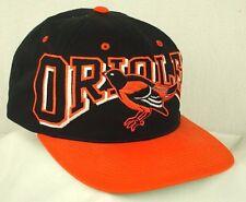 Baltimore Orioles Big Logo Real Bird Black Orange Bill Baseball Hat Cap EUC