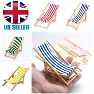 Mini Dollhouse Miniature Garden Beach Furniture Folding Deck Chair Blue Stripe