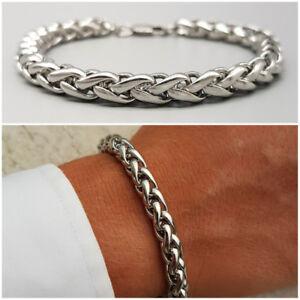 colore attraente aspetto dettagliato qualità stabile Dettagli su Bracciale da uomo in acciaio inox con catena braccialetto  intrecciato