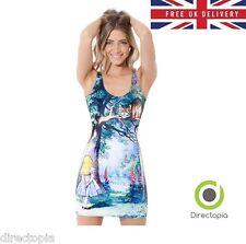 Alice in Wonderland Style Blue Cheshire Cat Print Stretch Short Dress Size 8-10