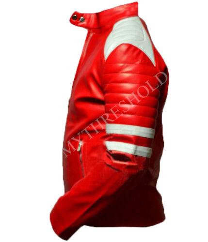 Mens Fight Club Retro Mayhem RED Leather Jacket WHITE STRIPE