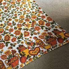 Vintage 1960 70s Terrycloth Tablecloth Bright ORANGE flowers birds KITSCH boho
