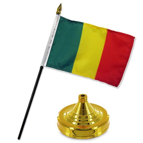 "Mali 4/""x6/"" Flag Desk Set Table Stick Gold Base"