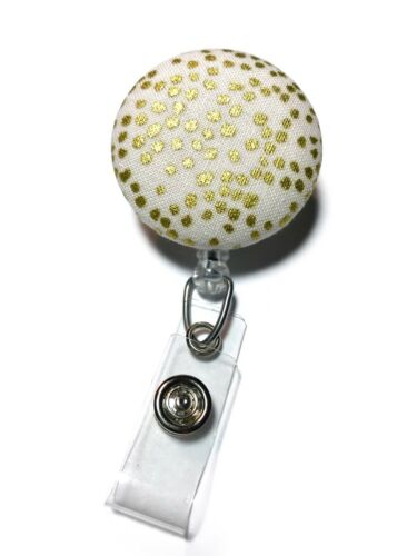 Nurse Name Badge Clip Details about  /Ivory Gold Metallic Dots Retractable Badge Reel ID Holder