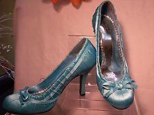 Deb Light Blue Satin Heel Shoe Size 9