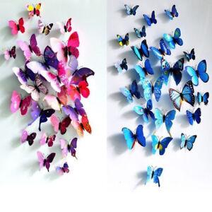 Colourful 3D Butterflies Wall Art Stickers Kids Girls Bedroom GIFT Home Decor