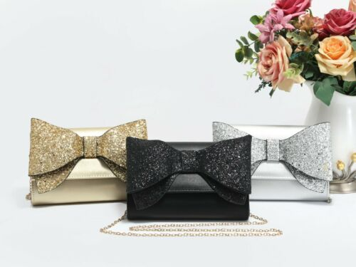 Fashion Fold Able Women Messenger Evering Clutch Bag Glitter Bow Night Out Bag