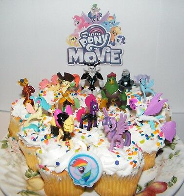 Pleasant My Little Pony The Movie Cake Toppers Set Of 14 New Figures Personalised Birthday Cards Beptaeletsinfo