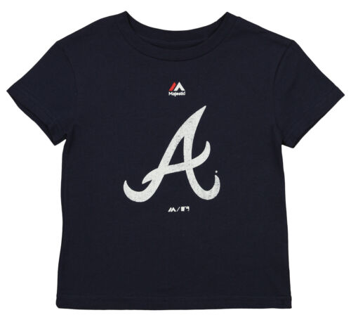 Majestic MLB Little Boys Atlanta Braves Distressed Team Logo Tee Navy