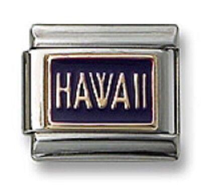 Italian Charm Modular Link Enamel Purple HAWAII Fits 9mm Bracelet Free Shipping