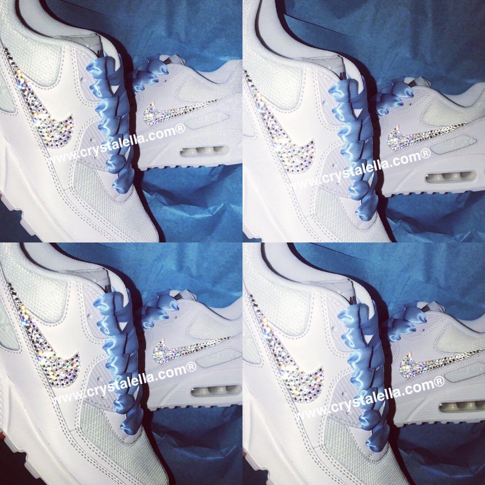Nikes 'Something Swarovski Blue' Wedding custom made Swarovski 'Something White Nike Air Max 90 21f3f2