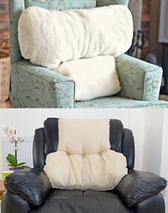 Image Is Loading Large Faux Armchair Sheepskin Back Lumbar Support Pillow