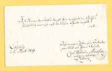 1809 Leipzig / Autograph : Carl Wilhelm Meissner : ALKALOID  deutsch. Apotheker