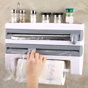 Plastic Refrigerator Cling Film Cutting Storage Rack Tin Wrap Paper kitchen V9B4