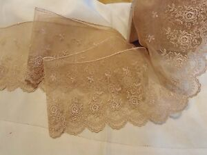 4-034-WIDE-FRENCH-EMBROIDERED-TULLE-SCALLOP-EDGE-LACE-FLORAL-TAN-TAUPE-BTY