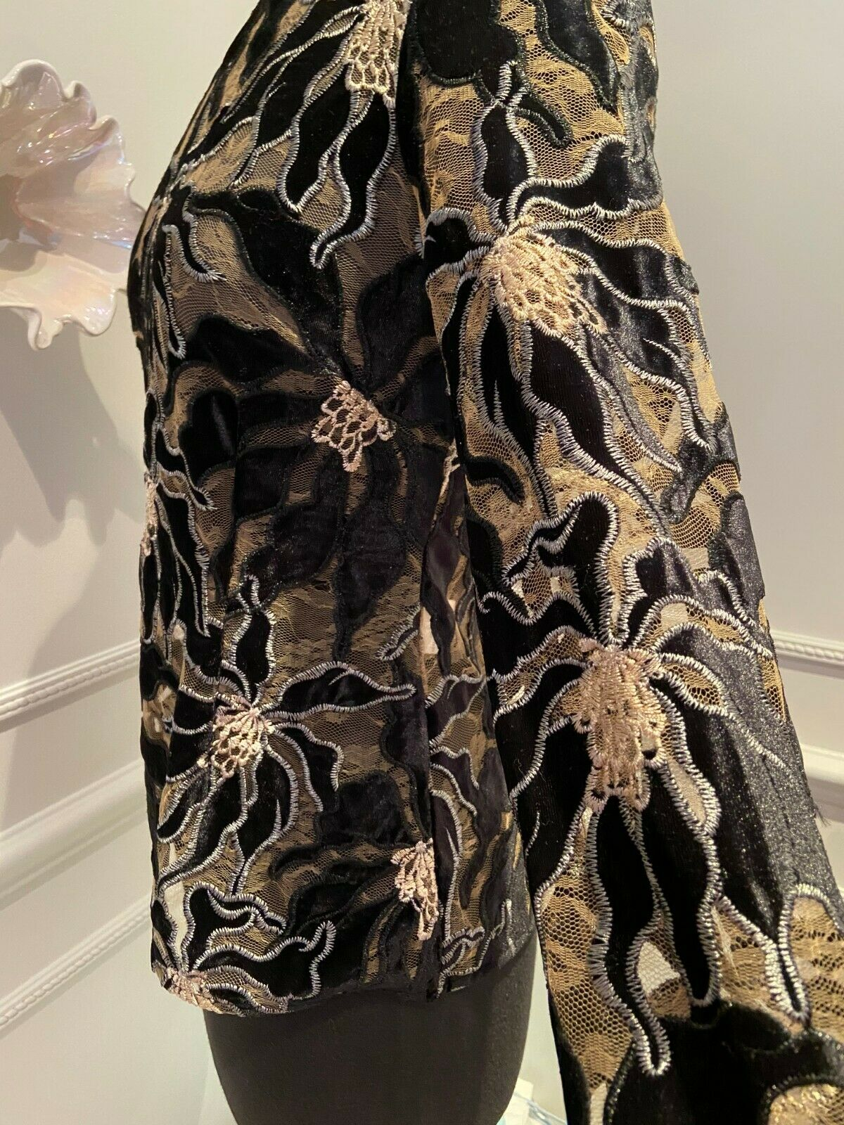 BEAUFILLE Embroidered Burnout Velvet and Lace Lon… - image 7