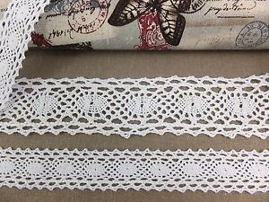 Lace-Trim-005-2-3-5cm-wide-Crochet-Cotton-Ribbon-Vintage-Snow-White-per-metre