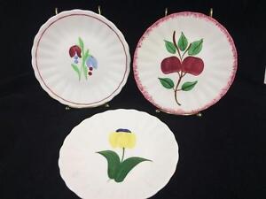Blue-Ridge-Southern-Potteries-SPI-Plate-Lot-3-Asst-6-1-2-034-Floral-Apple-Harvest