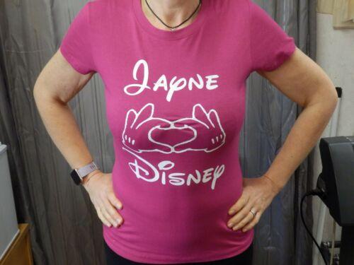 Prénom Disney Love Coeur Mains Diverses Couleur T Shirt Nouveauté Drôle Cadeau