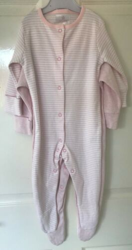 Ex Tienda Bebé Niñas Rosa Raya 2 Pack Pijama Babygrow 3//6 meses de edad