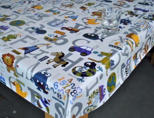 Alphabet Silver PVC Vinyl Wipe Clean Oilcloth Tablecloth